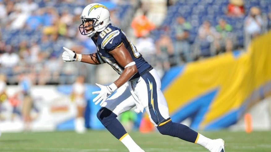 Aug 29, 2015; San Diego, CA, USA; San Diego Chargers wide receiver Malcom Floyd (80) runs during a preseason game against the Seattle Seahawks at Qualcomm Stadium. Seattle won 16-15. Mandatory Credit: Orlando Ramirez-USA TODAY Sports