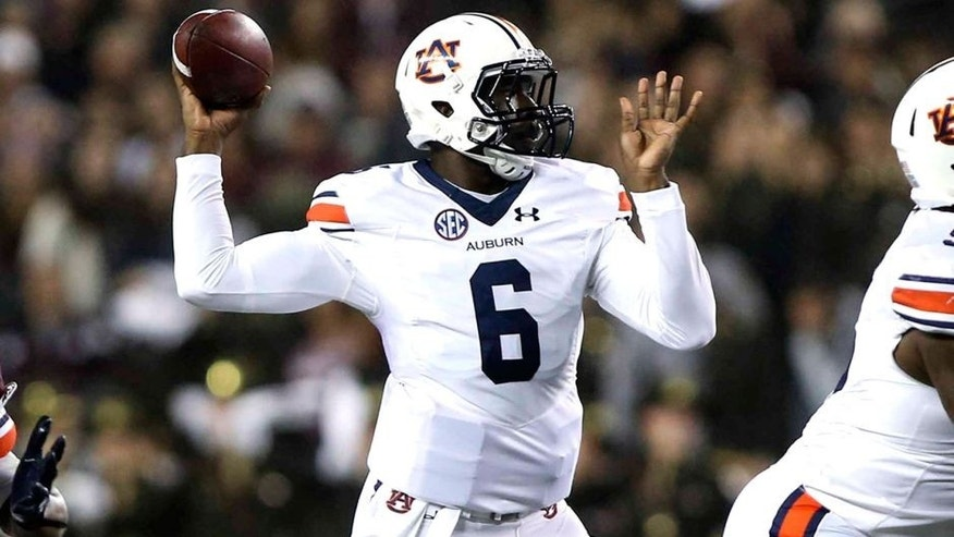 Nov 7, 2015; College Station, TX, USA; Auburn Tigers quarterback Jeremy Johnson (6) attempts a pass during the first quarter against the Texas A&M Aggies at Kyle Field. Mandatory Credit: Troy Taormina-USA TODAY Sports