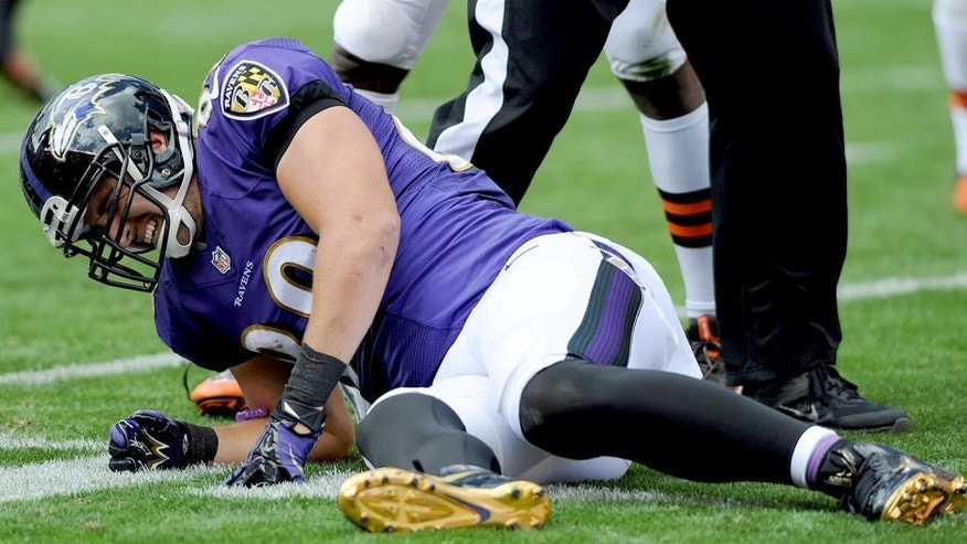 Sep 21, 2014; Cleveland, OH, USA; Baltimore Ravens tight end Dennis Pitta (88) winces in pain after getting injured during the second quarter against the Cleveland Browns at FirstEnergy Stadium. Mandatory Credit: Ken Blaze-USA TODAY Sports