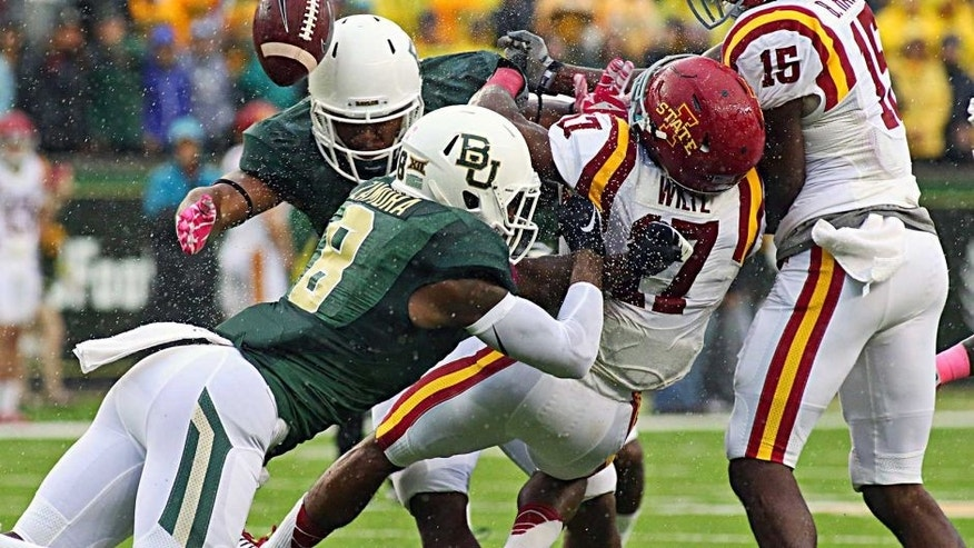 Oct 24, 2015; Waco, TX, USA; Baylor Bears Ishmael Zamora (8) forces the fumble on the kick return by Iowa State Cyclones defensive back Jomal Wiltz (17) on during the first quarter at McLane Stadium. Mandatory Credit: Ray Carlin-USA TODAY Sports