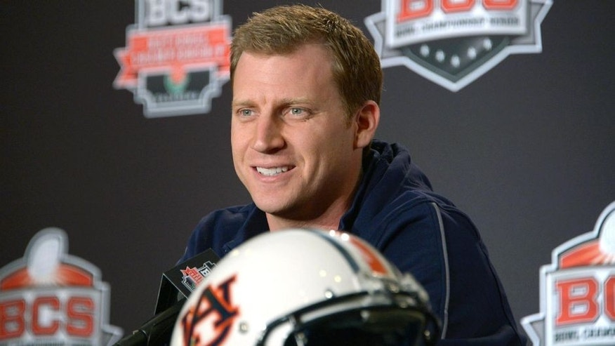 Jan 2, 2014; Newport Beach, CA, USA; Auburn Tigers offensive coordinator Rhett Lashlee at the 2014 BCS National Championship press conference at Newport Beach Marriott. Mandatory Credit: Kirby Lee-USA TODAY Sports