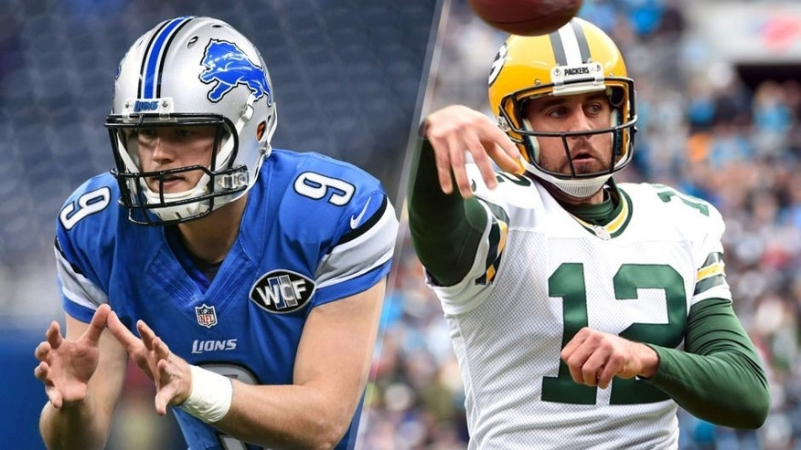 Oct 25, 2015; Detroit, MI, USA; Detroit Lions quarterback Matthew Stafford (9) before the game against the Minnesota Vikings at Ford Field. Mandatory Credit: Tim Fuller-USA TODAY Sports Nov 8, 2015; Charlotte, NC, USA; Green Bay Packers quarterback Aaron Rodgers (12) passes the ball in the first quarter at Bank of America Stadium. Mandatory Credit: Bob Donnan-USA TODAY Sports