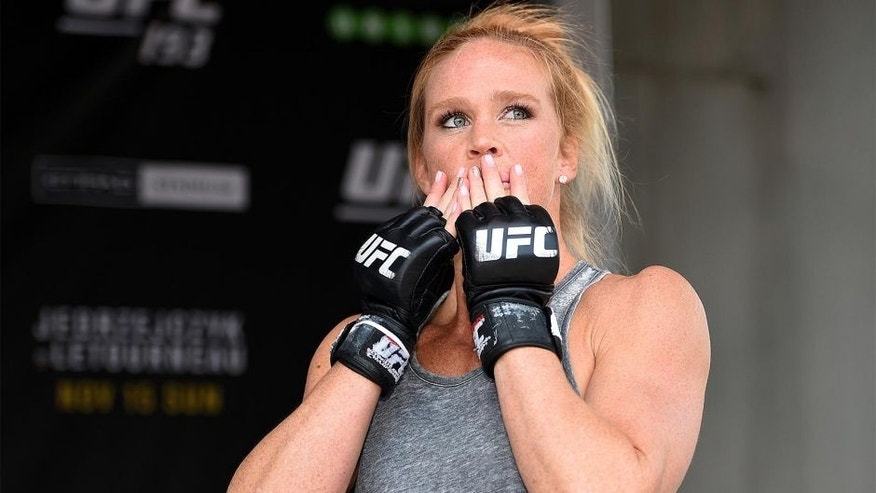 MELBOURNE, AUSTRALIA - NOVEMBER 12: Holly Holm of the United States holds an open workout for fans and media at Federation Square on November 12, 2015 in Melbourne, Australia. (Photo by Josh Hedges/Zuffa LLC/Zuffa LLC via Getty Images)