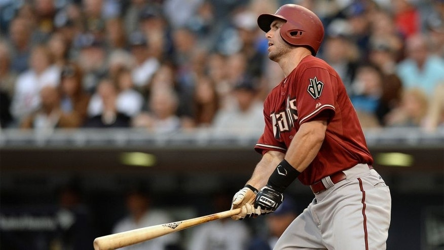 Apr 15, 2015; San Diego, CA, USA; Arizona Diamondbacks first baseman Paul Goldschmidt singles during the third inning against the San Diego Padres at Petco Park. Mandatory Credit: Jake Roth-USA TODAY Sports