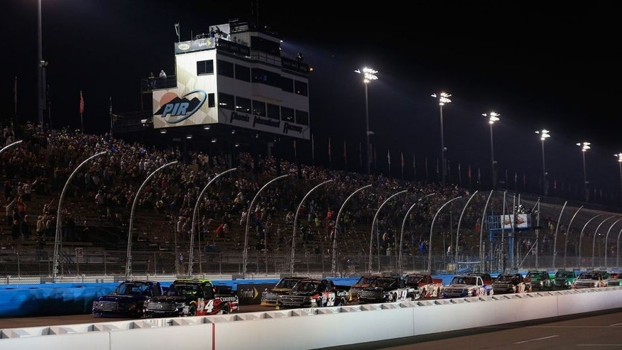 AVONDALE, AZ - NOVEMBER 13: Erik Jones, driver of the #4 Toyota Certified Used Vehicles Toyota, leads the field on a restart during the NASCAR Camping World Truck Series Lucas Oil 150 at Phoenix International Raceway on November 13, 2015 in Avondale, Arizona. (Photo by Chris Trotman/Getty Images)