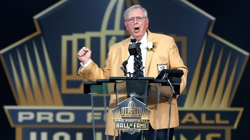 Saturday, August 8: Former Packers general manager Ron Wolf gestures as he gives his speech during inductions to the Pro Football Hall of Fame in Canton, Ohio.