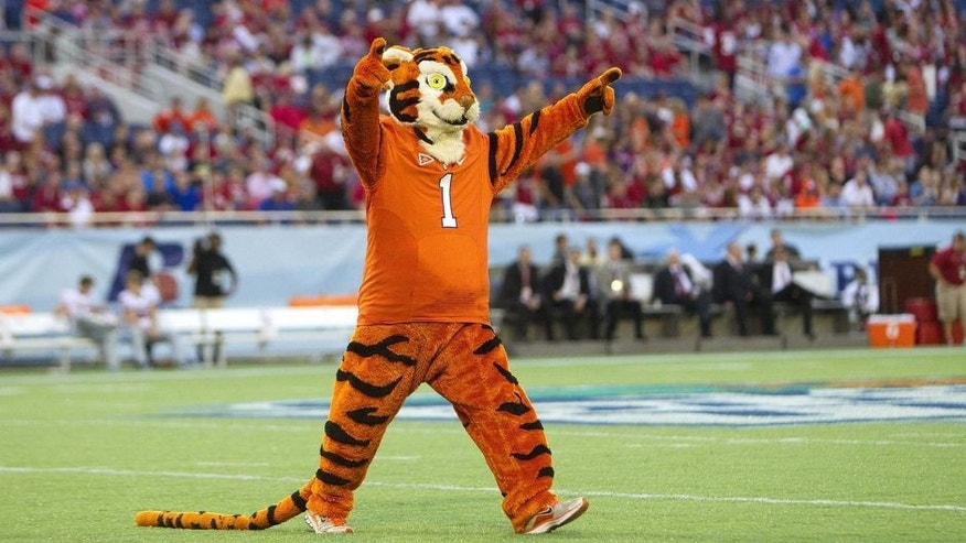 Dec 29, 2014; Orlando, FL, USA; Clemson Tigers mascot prior to the game against the Oklahoma Sooners in the 2014 Russell Athletic Bowl at Florida Citrus Bowl. Mandatory Credit: Joshua S. Kelly-USA TODAY Sports