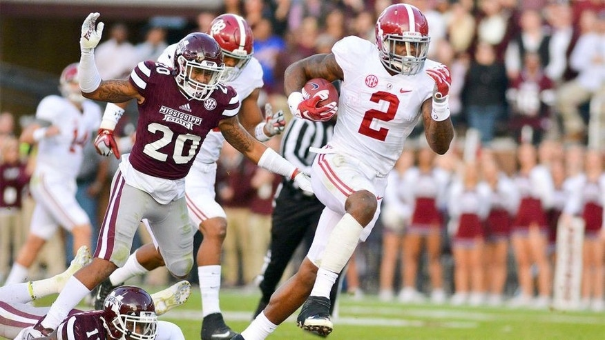 Nov 14, 2015; Starkville, MS, USA; Alabama Crimson Tide running back Derrick Henry (2) runs the ball during a play that would result in a touchdown during the second quarter of the game against the Mississippi State Bulldogs at Davis Wade Stadium. Mandatory Credit: Matt Bush-USA TODAY Sports