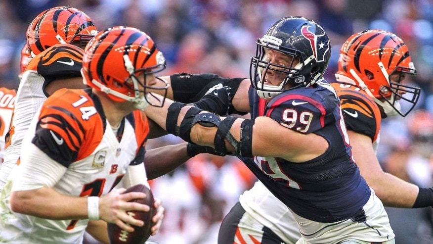 Nov 23, 2014; Houston, TX, USA; Houston Texans defensive end J.J. Watt (99) applies pressure to Cincinnati Bengals quarterback Andy Dalton (14) during the game at NRG Stadium. Mandatory Credit: Troy Taormina-USA TODAY Sports