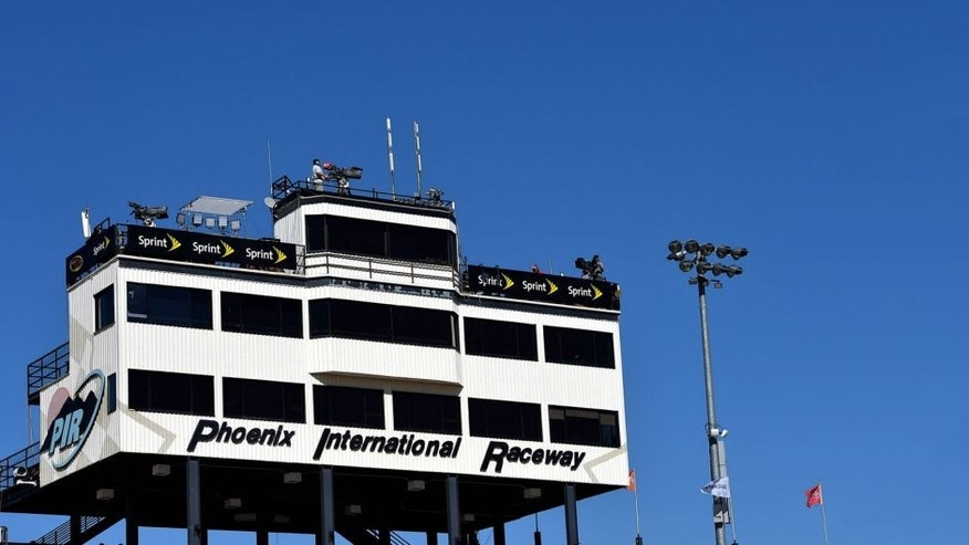 Nov 13, 2015; Avondale, AZ, USA; A general view of the press box during practice for the Quicken Loans Race For Heroes 500 at Phoenix International Raceway. Mandatory Credit: Jasen Vinlove-USA TODAY Sports