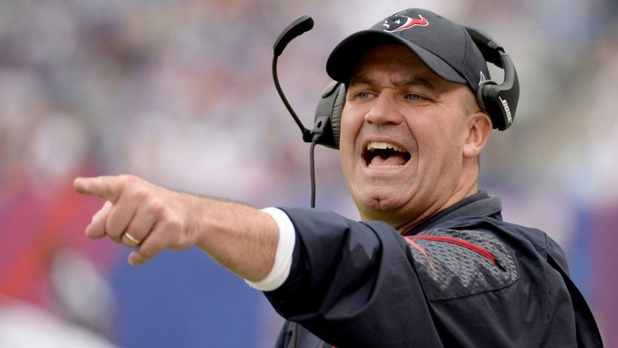 Sep 21, 2014; East Rutherford, NJ, USA; Houston Texans head coach Bill O'Brien during the game against the New York Giants at MetLife Stadium. Mandatory Credit: Robert Deutsch-USA TODAY Sports