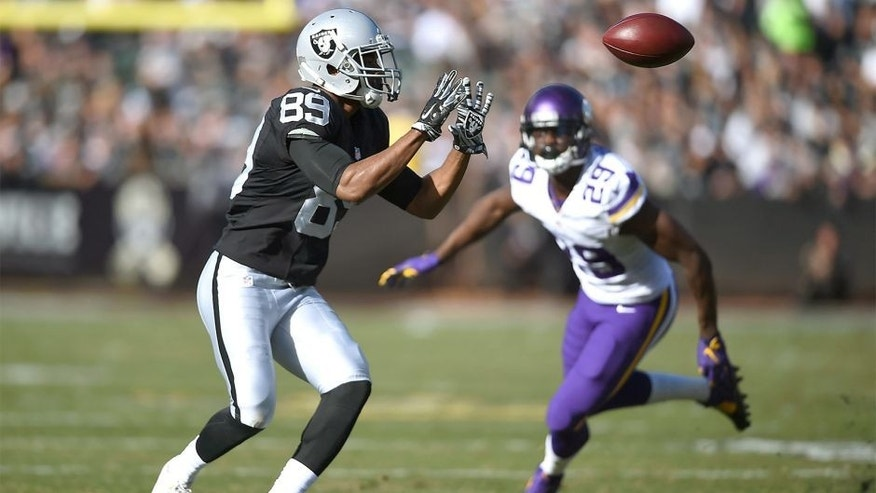 OAKLAND, CA - NOVEMBER 15: Wide receiver Amari Cooper #89 of the Oakland Raiders completes the pass against the Minnesota Vikings in the first quarter at O.co Coliseum on November 15, 2015 in Oakland, California. (Photo by Thearon W. Henderson/Getty Images)