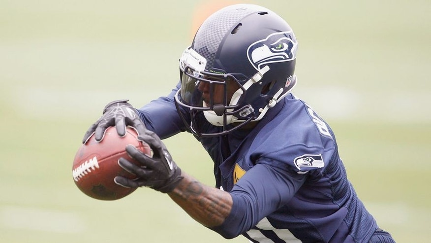 Jun 17, 2014; Renton, WA, USA; Seattle Seahawks wide receiver Paul Richardson (10) catches a pass during minicamp at the Virginia Mason Athletic Center. Mandatory Credit: Joe Nicholson-USA TODAY Sports