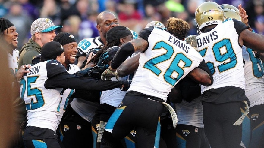 Nov 15, 2015; Baltimore, MD, USA; Jacksonville Jaguars players celebrate after beating the Baltimore Ravens 22-20 at M&T Bank Stadium. Mandatory Credit: Evan Habeeb-USA TODAY Sports