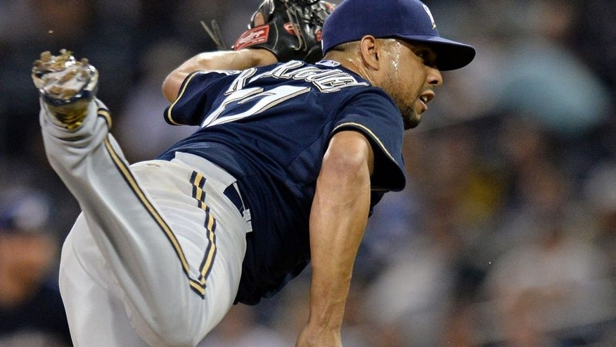 Sep 29, 2015; San Diego, CA, USA; Milwaukee Brewers relief pitcher Francisco Rodriguez (57) pitches during the ninth inning against the San Diego Padres at Petco Park. Mandatory Credit: Jake Roth-USA TODAY Sports