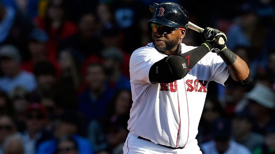 Jun 4, 2015; Boston, MA, USA; Boston Red Sox designated hitter David Ortiz (34) at bat during the fourth inning against the Minnesota Twins at Fenway Park. Mandatory Credit: Greg M. Cooper-USA TODAY Sports