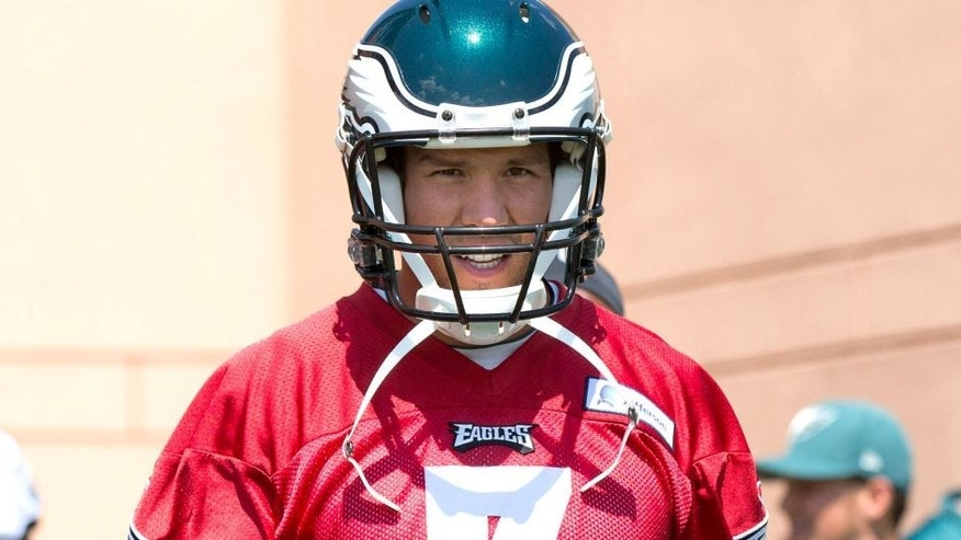 Jun 17, 2015; Philadelphia, PA, USA; Philadelphia Eagles quarterback Sam Bradford (7) walks onto the field during minicamp at The NovaCare Complex. Mandatory Credit: Bill Streicher-USA TODAY Sports