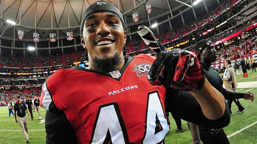 ATLANTA, GA - SEPTEMBER 14: Vic Beasley, Jr. #44 of the Atlanta Falcons celebrates after the game against the Philadelphia Eagles at the Georgia Dome on September 14, 2015 in Atlanta, Georgia. (Photo by Scott Cunningham/Getty Images)