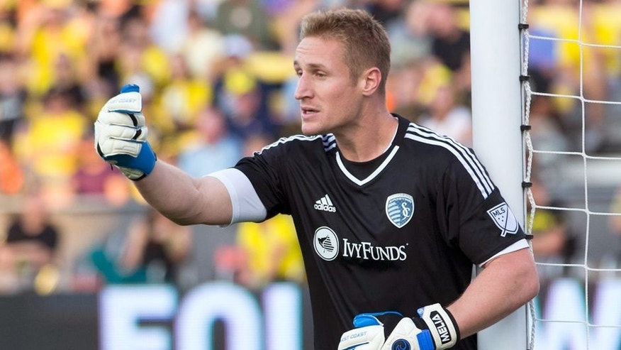 Aug 22, 2015; Columbus, OH, USA; Sporting Kansas City goalkeeper Tim Melia (29) directs his defense before a Columbus Crew SC corner kick at MAPFRE Stadium. Columbus won 3-2. Mandatory Credit: Greg Bartram-USA TODAY Sports
