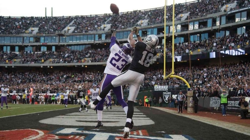 Minnesota Vikings cornerback Terence Newman intercepts the football intended for Oakland Raiders wide receiver Andre Holmes during the fourth quarter at O.co Coliseum in Oakland, Calif., on Sunday, Nov. 15, 2015.