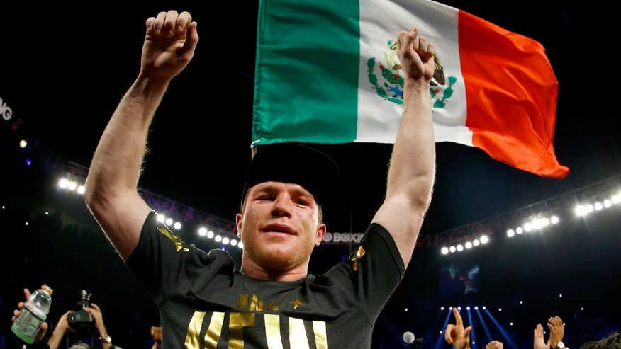 LAS VEGAS, NV - NOVEMBER 21:  Canelo Alvarez celebrates after defeating Miguel Cotto by unanimous decision in their middleweight fight at the Mandalay Bay Events Center on November 21, 2015 in Las Vegas, Nevada.  (Photo by Al Bello/Getty Images)