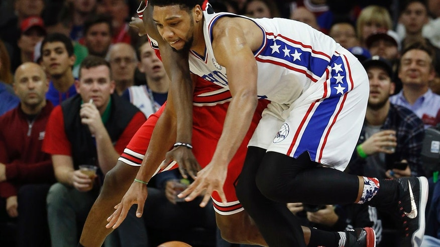 Nov. 9, 2015: Jahlil Okafor of the Philadelphia 76ers chases a loose ball in the second half of an NBA basketball game against the Chicago Bulls in Philadelphia (AP Photo/Matt Slocum)