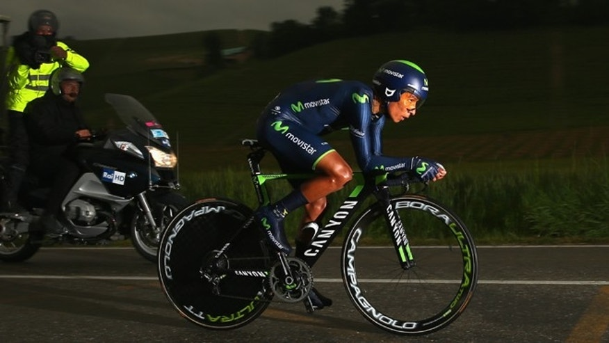 Nairo Quintana of Colombia and Movistar in action during the twelfth stage of the 2014 Giro d'Italia, a 42km Individual (Photo by Bryn Lennon - Velo/Getty Images)