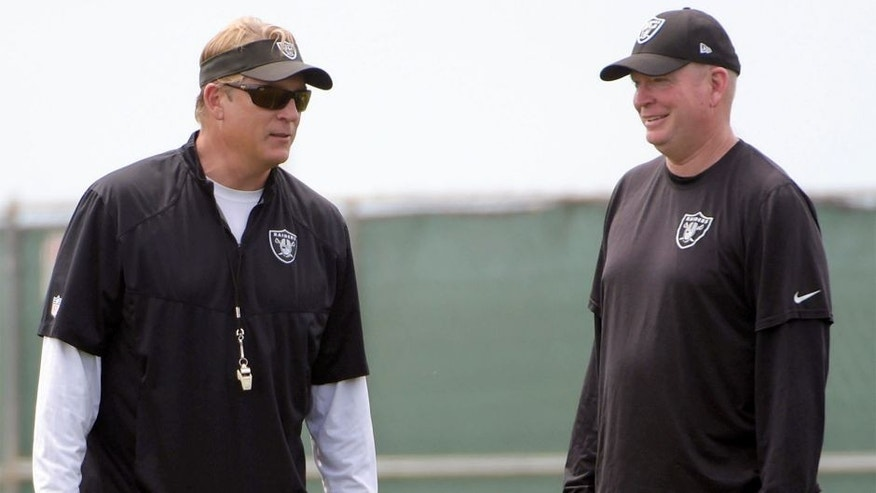 Jun 9, 2015; Oakland, CA, USA; Oakland Raiders coach Jack Del Rio (left) and offensive coordinator Bill Musgrave at minicamp at the Raiders practice facility. Mandatory Credit: Kirby Lee-USA TODAY Sports
