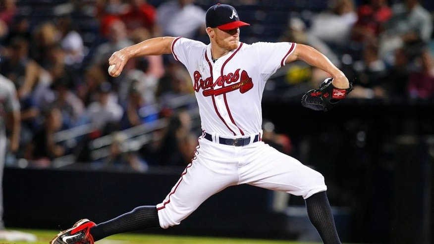 Sep 10, 2015; Atlanta, GA, USA; Atlanta Braves starting pitcher Shelby Miller (17) throws a pitch against the New York Mets in the third inning at Turner Field. Mandatory Credit: Brett Davis-USA TODAY Sports