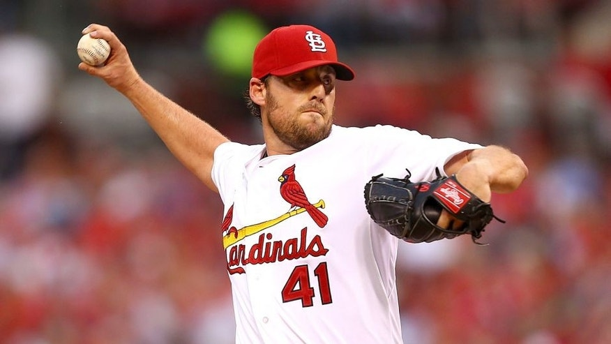 ST. LOUIS, MO - MAY 29: Starter John Lackey #41 of the St. Louis Cardinals pitches against the Los Angeles Dodgers in the second inning at Busch Stadium on May 29, 2015 in St. Louis, Missouri. (Photo by Dilip Vishwanat/Getty Images)