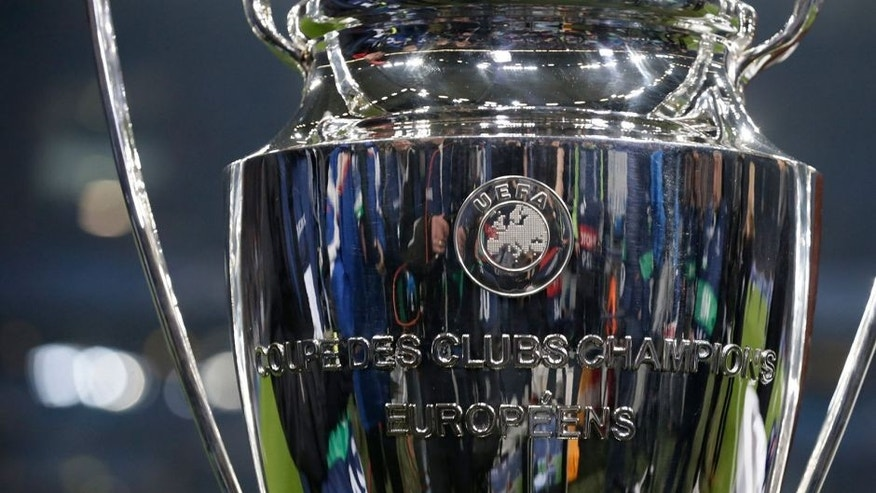Champions League Trophy during the round of 16 UEFA Champions League match between Schalke 04 and Real Madrid on February 18, 2015 at the Veltins Arena in Gelsenkirchen, Germany.(Photo by VI Images via Getty Images)