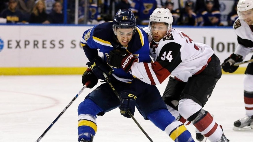 St. Louis Blues' Robby Fabbri, left, tries to control the puck as he is pushed by Arizona Coyotes' Klas Dahlbeck, of Sweden, during the second period of an NHL hockey game, Tuesday, Dec. 8, 2015, in St. Louis. (AP Photo/Jeff Roberson)