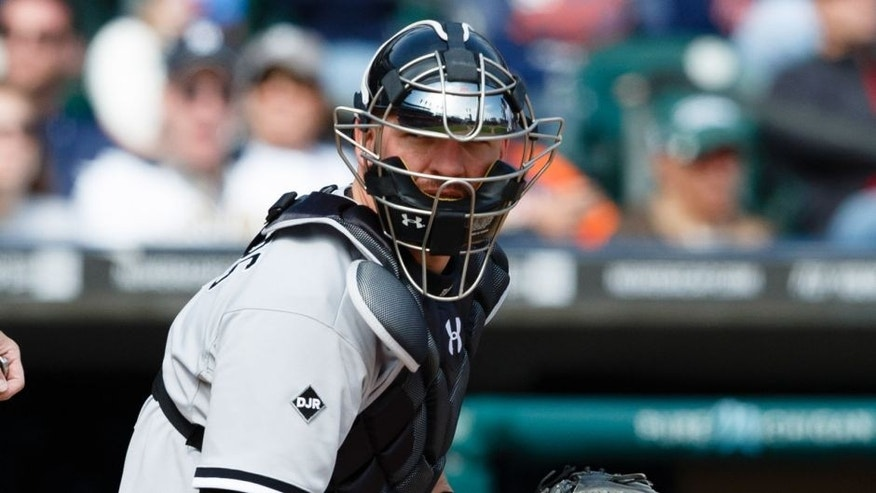 Apr 24, 2014; Detroit, MI, USA; Chicago White Sox catcher Tyler Flowers (21) looks back to the dugout during the game against the Detroit Tigers at Comerica Park. Mandatory Credit: Rick Osentoski-USA TODAY Sports