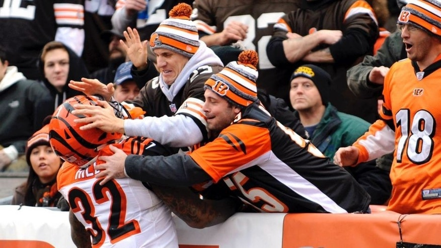 <p>Cincinnati Bengals running back Jeremy Hill (32) tries to jump into the stands after a second quarter touchdown against the Cleveland Browns at FirstEnergy Stadium.</p>
