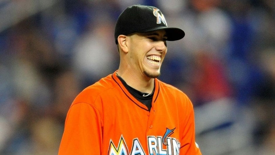 <p>Sep 11, 2013; Miami, FL, USA; Miami Marlins starting pitcher Jose Fernandez (16) smiles on the pitching mound during the first inning against the Atlanta Braves at Marlins Park. Mandatory Credit: Steve Mitchell-USA TODAY Sports<br> </p>
