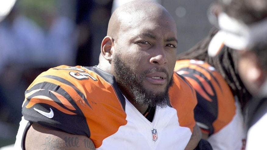 Sep 14, 2014; Cincinnati, OH, USA; Cincinnati Bengals defensive tackle Devon Still (75) looks on from the sidelines in the second half against the Atlanta Falcons at Paul Brown Stadium. The Bengals won 24-10. Mandatory Credit: Aaron Doster-USA TODAY Sports