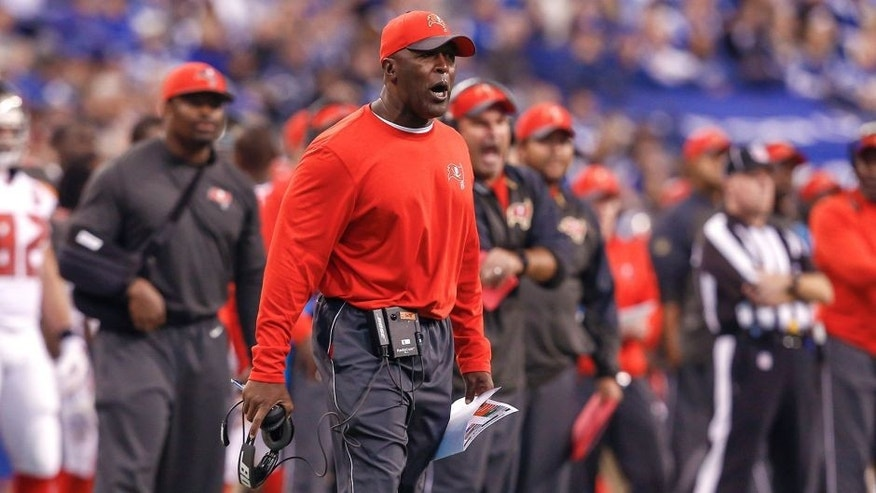 INDIANAPOLIS, IN - NOVEMBER 29 : Head coach Lovie Smith of the Tampa Bay Buccaneers is seen during the game against the Indianapolis Colts at Lucas Oil Stadium on November 29, 2015 in Indianapolis, Indiana. Indianapolis defeated Tampa Bay 25-12. (Photo by Michael Hickey/Getty Images)