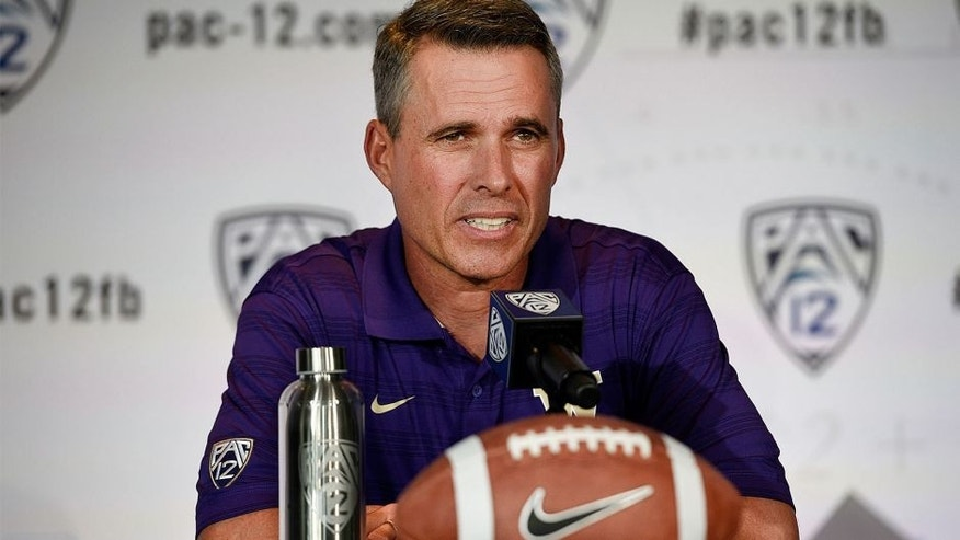 Jul 24, 2014; Hollywood, CA, USA; Washington Huskies head coach Chris Petersen talks to the media during the Pac-12 Media Day at the Studios at Paramount. Mandatory Credit: Kelvin Kuo-USA TODAY Sports