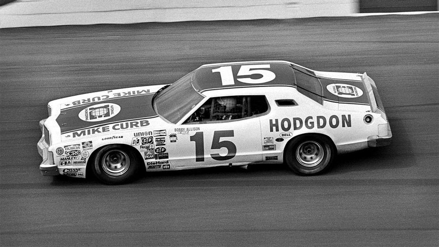 DAYTONA BEACH, FL - FEBRUARY 17: Bobby Allison drives the Bud Moore Ford through Turn 4 in the 1980 Daytona 500 on February 17, 1980, at the Daytona International Speedway in Daytona Beach, Florida. (Photo by Bob Harmeyer/Archive Photos/Getty Images)