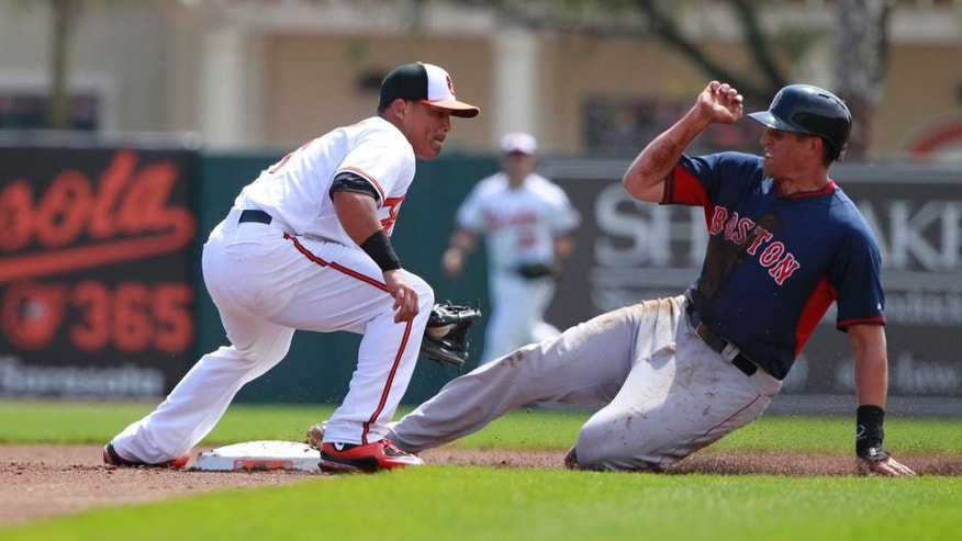 Mar 7, 2015; Sarasota, FL, USA; Boston Red Sox third baseman Garin Cecchini (70) steals second base as Baltimore Orioles second baseman Everth Cabrera (1) attempted to tag him out during the first inning at a spring training baseball game at Ed Smith Stadium. Mandatory Credit: Kim Klement-USA TODAY Sports