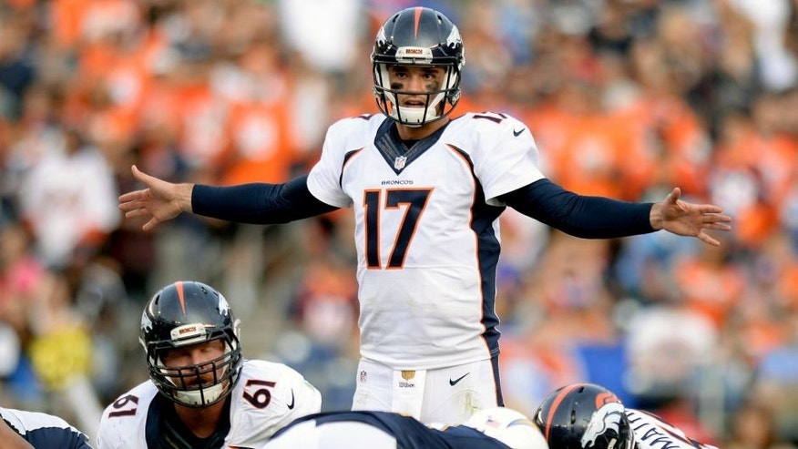 Dec 6, 2015; San Diego, CA, USA; Denver Broncos quarterback Brock Osweiler (17) gestures during the fourth quarter against the San Diego Chargers at Qualcomm Stadium. Mandatory Credit: Jake Roth-USA TODAY Sports