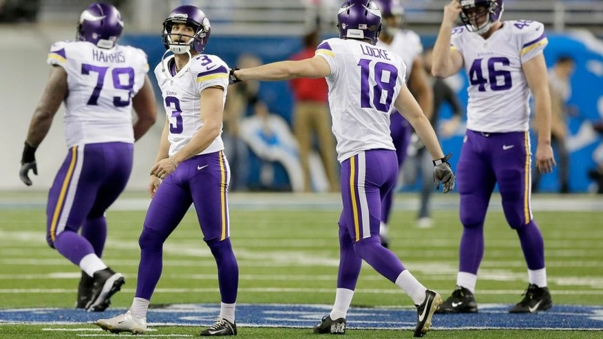 <p>FILE - In this Dec. 14, 2014, file photo, Minnesota Vikings kicker Blair Walsh (3) walks off the field after missing a field goal during the second half of an NFL football game against the Detroit Lions in Detroit. Walsh has hit a slump as the season draws to a close. The Minnesota Vikings kicker is 1 for 6 in the last two games and wants to tighten things up with two games left. (AP Photo/Duane Burleson, File)</p>