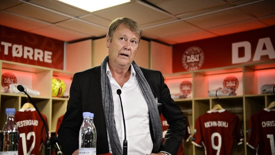 Age Hareide is presented as new national coach for the Danish national soccer team, at a press conference in Copenhagen, Thursday, Dec. 10, 2015. Former Malmo FF manager Age Hareide is the new national coach, Denmark's football association said on Thursday. The 62-year-old former Norway international signed a two-year contract with an option for two more years, the association, known as DBU, said. (Philip Davali/ POLFOTO via AP) DENMARK OUT