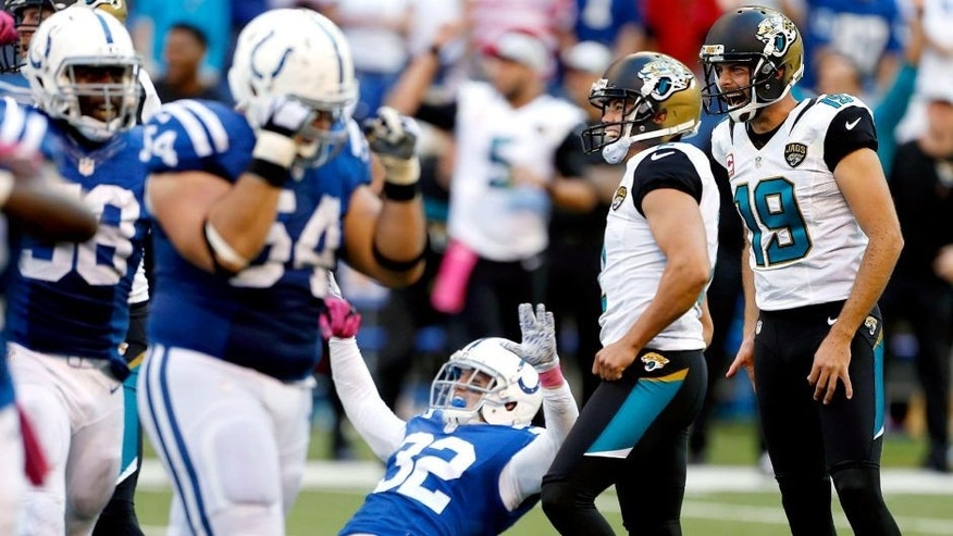 Oct 4, 2015; Indianapolis, IN, USA; Jacksonville Jaguars kicker Jason Myers (2) misses a potential game winning kick at the end of the regulation in the fourth quarter against the Indianapolis Colts at Lucas Oil Stadium. Indianapolis defeats Jacksonville 16-13 in overtime. Mandatory Credit: Brian Spurlock-USA TODAY Sports