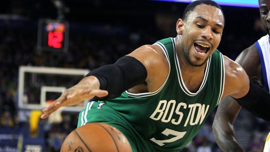 Jan 25, 2015; Oakland, CA, USA; Boston Celtics forward Jared Sullinger (7) looses control of the ball during the second half of their NBA game with the Golden State Warriors at Oracle Arena. Mandatory Credit: Lance Iversen-USA TODAY Sports