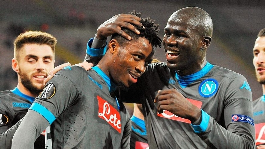 NAPLES, ITALY - DECEMBER 10: Kalidou Koulibaly and Nathaniel Chalobah of Napoli celebrate a goal 1-0 scored by Nathaniel Chalobah during the UEFA Europa League Group D match between SSC Napoli and Legia Warszawa on December 10, 2015 in Naples, Italy. (Photo by Francesco Pecoraro/Getty Images)