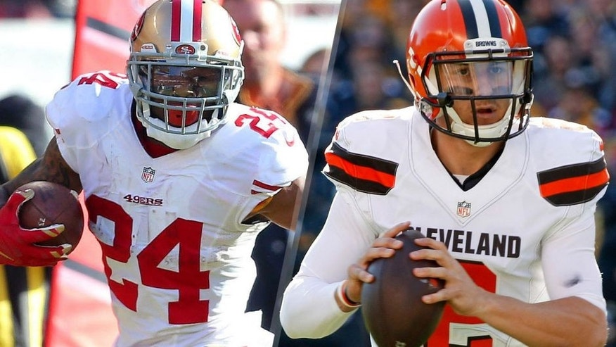 San Francisco 49ers running back Shaun Draughn (24) runs past Chicago Bears inside linebacker Shea McClellin (50) during the first half at Soldier Field. Mandatory Credit: Dennis Wierzbicki-USA TODAY Sports Cleveland Browns quarterback Johnny Manziel (2) scrambles with the ball against the Pittsburgh Steelers during the first quarter at Heinz Field. Mandatory Credit: Charles LeClaire-USA TODAY Sports