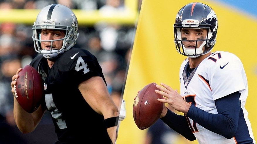 Dec 6, 2015; Oakland, CA, USA; Oakland Raiders quarterback Derek Carr (4) elects to run against the Kansas City Chiefs during the second quarter at O.co Coliseum. Mandatory Credit: Kelley L Cox-USA TODAY Sports Dec 6, 2015; San Diego, CA, USA; Denver Broncos quarterback Brock Osweiler (17) looks to pass during the fourth quarter against the San Diego Chargers at Qualcomm Stadium. Mandatory Credit: Jake Roth-USA TODAY Sports