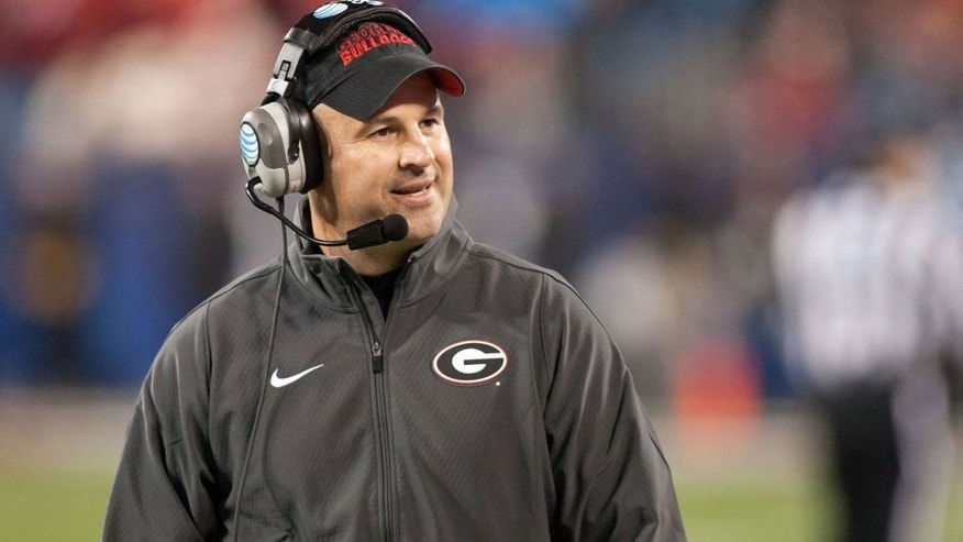 Dec 30, 2014; Charlotte, NC, USA; Georgia Bulldogs defensive coordinator Jeremy Pruitt yells out from the sidelines during the second quarter against the Louisville Cardinals in the Belk Bowl held at Bank of America Stadium. Mandatory Credit: Jeremy Brevard-USA TODAY Sports
