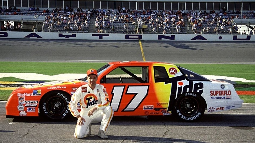 DAYTONA BEACH, FL - FEBRUARY 1989: Darrell Waltrip poses with the Rick Hendrick Chevrolet. (Photo by ISC Archives via Getty Images)